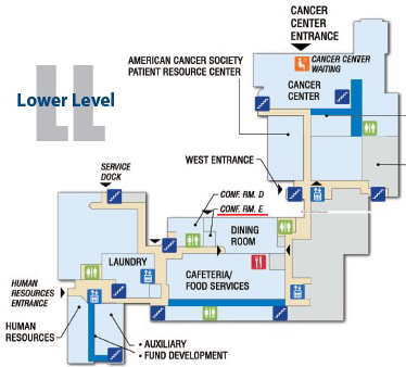 Map of Lake Regional Hospital lower level with Conf. Rm. E highlighted.