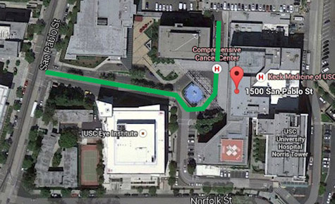 Map to USC Keck parking.