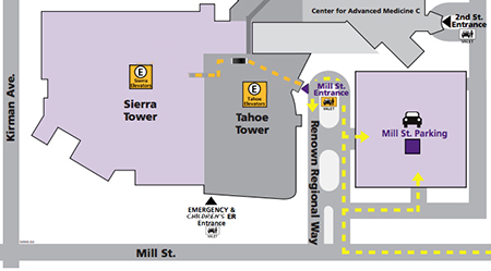Map of parking and entrance to Sierra Tower.